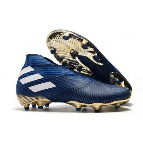 adidas Tacos de Futbol Nemeziz 19+ FG - Azul Blanco Negro