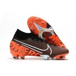 Nike Botas de Fútbol Mercurial Superfly 7 Elite SE FG Negro Blanco Hyper Crimson