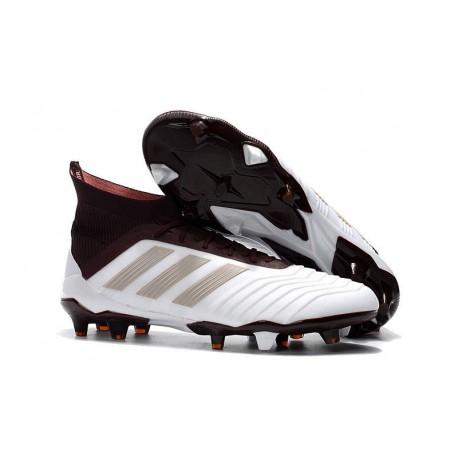 Botas de fútbol Adidas Predator 18.1 FG Para Hombre Blanco MarrÓN