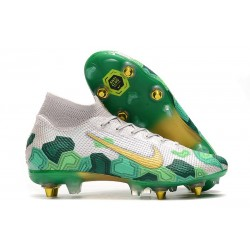 Nike Mercurial Superfly VII Elite SG-Pro AC Traction Mbappe Blanco Oro Verde