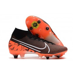 Nike Mercurial Superfly VII Elite SG-Pro AC Traction Negro Blanco Hyper Crimson