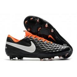 Zapatos de Fútbol Nike Tiempo Legend 8 Elite FG Negro Blanco Naranja