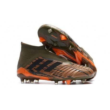 Zapatillas de fútbol Adidas Predator 18+ FG Para Hombre Oliva Negro Naranja