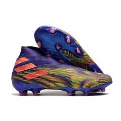 Bota de Futbol adidas Nemeziz 19+ FG Tinta Energia Rosa Senal Verde