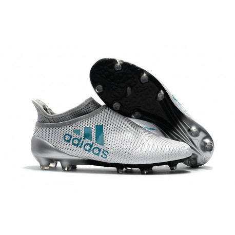 Botas de fútbol Adidas X 17+ Purespeed FG Hombre Blanco Azul Gris