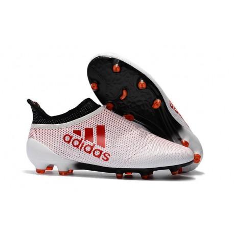 Zapatillas de fútbol Adidas X 17+ Purespeed FG Blanco Rojo Negro
