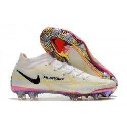 Zapatos Fútbol Nike Phantom GT2 Elite DF FG Blanco Negro Carmesí Rosa